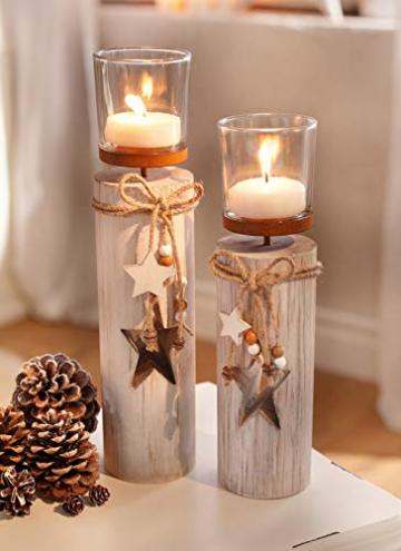 """Dekoleidenschaft 2X Windlichtsäule """"Stern"""" aus Holz und Glas, Teelichthalter im Shabby Look, Kerzenständer, Adventsdeko - 1"""