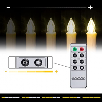 Deuba 20x Weihnachtskerzen LED weiß kabellos mit Batterie Fernbedienung Timer Flackern Dimmbar Christbaumkerzen kabellos - 4