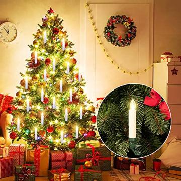 Deuba 30x LED Weihnachtsbaumkerzen kabellos weiß Fernbedienung Timer Flackern Dimmbar Christbaumkerzen Weihnachtskerzen - 2