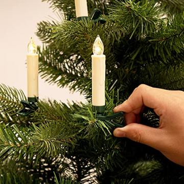 Deuba 30x LED Weihnachtsbaumkerzen kabellos weiß Fernbedienung Timer Flackern Dimmbar Christbaumkerzen Weihnachtskerzen - 3