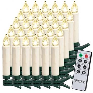 Deuba 30x LED Weihnachtsbaumkerzen kabellos weiß Fernbedienung Timer Flackern Dimmbar Christbaumkerzen Weihnachtskerzen - 1