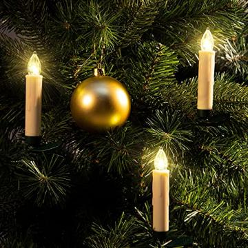 Deuba 30x LED Weihnachtsbaumkerzen kabellos weiß Fernbedienung Timer Flackern Dimmbar Christbaumkerzen Weihnachtskerzen - 6