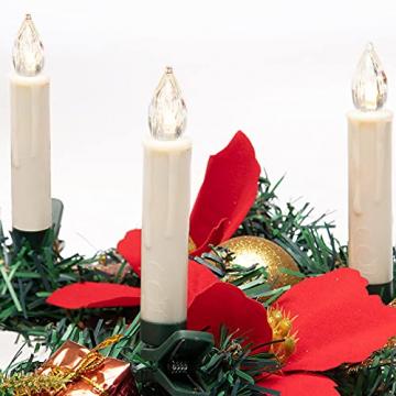 Deuba 30x LED Weihnachtsbaumkerzen kabellos weiß Fernbedienung Timer Flackern Dimmbar Christbaumkerzen Weihnachtskerzen - 8
