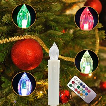 DIWIWON 30er Weinachten LED Kerzen Christbaumkerzen mit Fernbedienung Kabellos Dimmen Flackern Baumkerze-RGB - 3