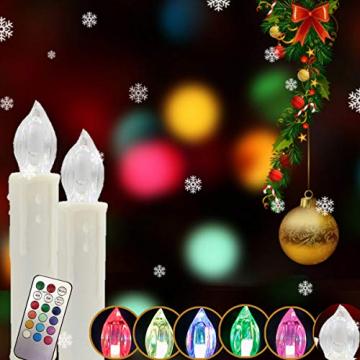 DIWIWON 30er Weinachten LED Kerzen Christbaumkerzen mit Fernbedienung Kabellos Dimmen Flackern Baumkerze-RGB - 5