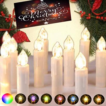 DIWIWON 30er Weinachten LED Kerzen Christbaumkerzen mit Fernbedienung Kabellos Dimmen Flackern Baumkerze-RGB - 9