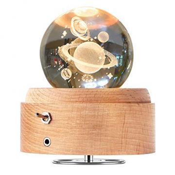 DUTISAN Kristallkugel Spieluhr, 360° Rotierende hölzerne Spieluhr mit Licht, Beleuchtete Projektionsfunktion, Geschenk für Weihnachten, Erntedankfest, Geburtstag, Valentinstag, Muttertag - Asteroid - 1