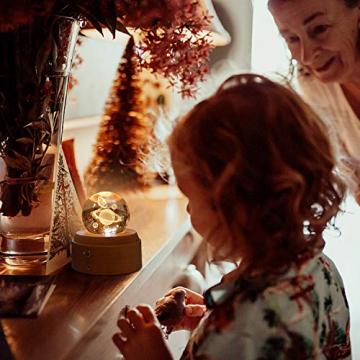 DUTISAN Kristallkugel Spieluhr, 360° Rotierende hölzerne Spieluhr mit Licht, Beleuchtete Projektionsfunktion, Geschenk für Weihnachten, Erntedankfest, Geburtstag, Valentinstag, Muttertag - Asteroid - 5