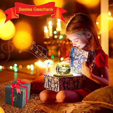 DUTISAN Kristallkugel Spieluhr, 360° Rotierende hölzerne Spieluhr mit Licht, Beleuchtete Projektionsfunktion, Geschenk für Weihnachten, Erntedankfest, Geburtstag, Valentinstag, Muttertag - Asteroid - 6