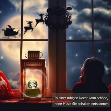 DUTISAN Kristallkugel Spieluhr, 360° Rotierende hölzerne Spieluhr mit Licht, Beleuchtete Projektionsfunktion, Geschenk für Weihnachten, Erntedankfest, Geburtstag, Valentinstag, Muttertag - Asteroid - 7