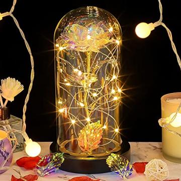 E-MANIS Die Schöne und das Biest Rose,Ewige Rose mit LED-Licht in Glaskuppel auf Holzsockel,Infinity Rose mit Goldfolie im Glas für Hauptdekor,Rose Geschenk für Weihnachten,Valentinstag,Muttertag - 1
