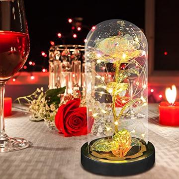 E-MANIS Die Schöne und das Biest Rose,Ewige Rose mit LED-Licht in Glaskuppel auf Holzsockel,Infinity Rose mit Goldfolie im Glas für Hauptdekor,Rose Geschenk für Weihnachten,Valentinstag,Muttertag - 5