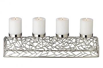 EDZARD Adventskerzenhalter Milano Silber, Messing vernickelt, modernes AST-Design, Länge 44 cm, Adventskranz für Kerzen Durchmesser 6 cm, Perfekt für Cornelius Kerzen - 2