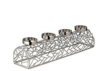 EDZARD Adventskerzenhalter Milano Silber, Messing vernickelt, modernes AST-Design, Länge 44 cm, Adventskranz für Kerzen Durchmesser 6 cm, Perfekt für Cornelius Kerzen - 4