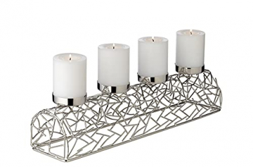 EDZARD Adventskerzenhalter Milano Silber, Messing vernickelt, modernes AST-Design, Länge 44 cm, Adventskranz für Kerzen Durchmesser 6 cm, Perfekt für Cornelius Kerzen - 1