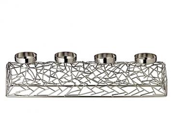 EDZARD Adventskerzenhalter Milano Silber, Messing vernickelt, modernes AST-Design, Länge 44 cm, Adventskranz für Kerzen Durchmesser 6 cm, Perfekt für Cornelius Kerzen - 5