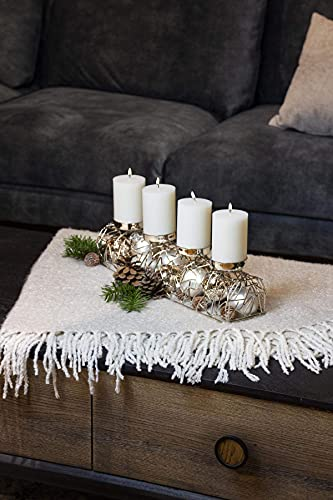 EDZARD Adventskerzenhalter Milano Silber, Messing vernickelt, modernes AST-Design, Länge 44 cm, Adventskranz für Kerzen Durchmesser 6 cm, Perfekt für Cornelius Kerzen - 6