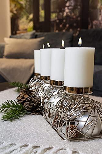 EDZARD Adventskerzenhalter Milano Silber, Messing vernickelt, modernes AST-Design, Länge 44 cm, Adventskranz für Kerzen Durchmesser 6 cm, Perfekt für Cornelius Kerzen - 7