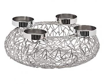 EDZARD Adventskranz Milano Silber, Edelstahl vernickelt, Durchmesser 34 cm, Kerzenteller ø 8cm, moderner Kerzenhalter, Perfekt für Cornelius Kerzen - 2