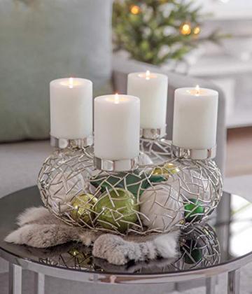 EDZARD Adventskranz Milano Silber, Edelstahl vernickelt, Durchmesser 34 cm, Kerzenteller ø 8cm, moderner Kerzenhalter, Perfekt für Cornelius Kerzen - 3