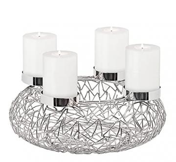 EDZARD Adventskranz Milano Silber, Edelstahl vernickelt, Durchmesser 34 cm, Kerzenteller ø 8cm, moderner Kerzenhalter, Perfekt für Cornelius Kerzen - 1
