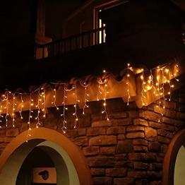 Eisregen Lichterkette Außen 600er LED 15m, LED Lichtervorhang mit Timer, IP44 wasserdicht 8 Modi für Innenausstattung Außenbereich Schlafzimmer Hochzeit Weihnachten Party (Warmweiß) - 1