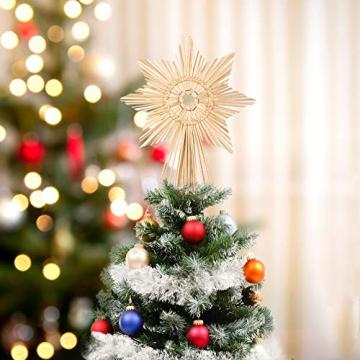 EKKONG Baumspitze Stern, Baumspitze Weihnachten aus Stroh Natur Christbaumspitze Weihnachtsbaumspitze Handgemachter Weihnachtsbaumschmuck für Jeder Größe Weihnachtsbäume - 2