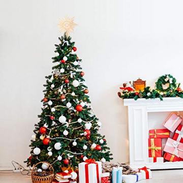 EKKONG Baumspitze Stern, Baumspitze Weihnachten aus Stroh Natur Christbaumspitze Weihnachtsbaumspitze Handgemachter Weihnachtsbaumschmuck für Jeder Größe Weihnachtsbäume - 3