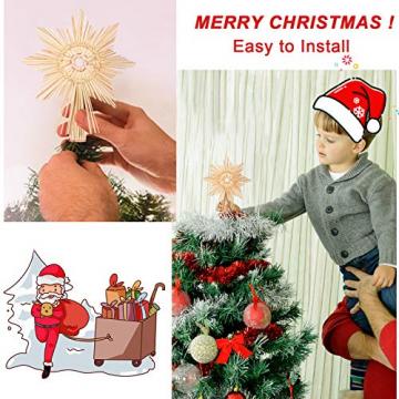 EKKONG Baumspitze Stern, Baumspitze Weihnachten aus Stroh Natur Christbaumspitze Weihnachtsbaumspitze Handgemachter Weihnachtsbaumschmuck für Jeder Größe Weihnachtsbäume - 6