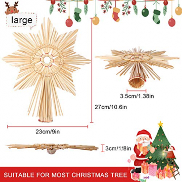 EKKONG Baumspitze Stern, Baumspitze Weihnachten aus Stroh Natur Christbaumspitze Weihnachtsbaumspitze Handgemachter Weihnachtsbaumschmuck für Jeder Größe Weihnachtsbäume - 7