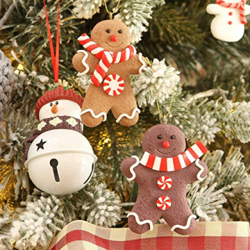 Elionless Weihnachtsbaumschmuck, 12 Stück, traditioneller Ingwer Mann, Weihnachtsbaumschmuck zum Aufhängen, Charms (Lebmann B) - 3