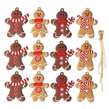 Elionless Weihnachtsbaumschmuck, 12 Stück, traditioneller Ingwer Mann, Weihnachtsbaumschmuck zum Aufhängen, Charms (Lebmann B) - 1