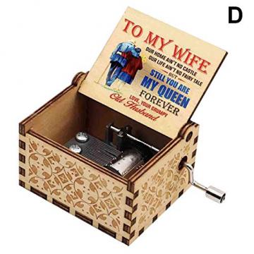 ERHETUS Gravierte hölzerne Spieluhr handgekröpfte Spieluhr für Tochter Frau Geburtstagsgeschenk für Geburtstag, Festival, Weihnachten - 2