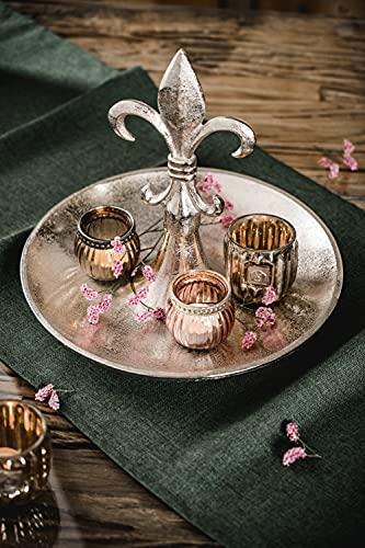 Etagere Lilie Dekoteller Dekoschale Schale - Servierplatte Groß aus Metall Aluminium - Silber Deko Luxus - Tischdeko Hochzeit - Dekoration für Wohnzimmer, Esszimmer oder Küche - 31 cm - 4