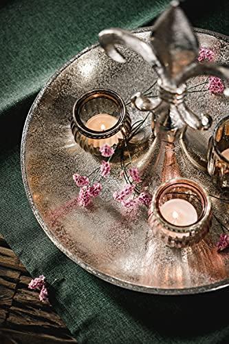 Etagere Lilie Dekoteller Dekoschale Schale - Servierplatte Groß aus Metall Aluminium - Silber Deko Luxus - Tischdeko Hochzeit - Dekoration für Wohnzimmer, Esszimmer oder Küche - 31 cm - 5