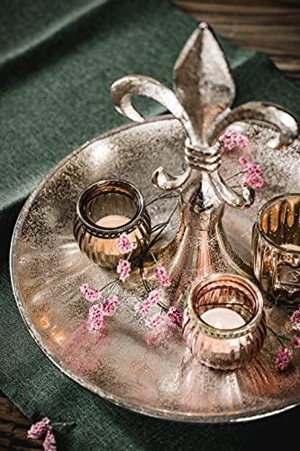 Etagere Lilie Dekoteller Dekoschale Schale - Servierplatte Groß aus Metall Aluminium - Silber Deko Luxus - Tischdeko Hochzeit - Dekoration für Wohnzimmer, Esszimmer oder Küche - 31 cm - 7