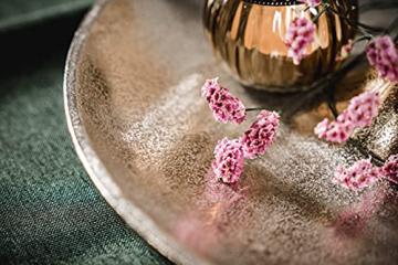 Etagere Lilie Dekoteller Dekoschale Schale - Servierplatte Groß aus Metall Aluminium - Silber Deko Luxus - Tischdeko Hochzeit - Dekoration für Wohnzimmer, Esszimmer oder Küche - 31 cm - 8