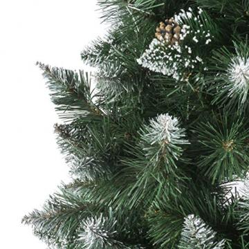 FairyTrees künstlicher Weihnachtsbaum Kiefer, Natur-Weiss beschneit, Material PVC, echte Tannenzapfen, inkl. Holzständer, 120cm, FT04-120 - 2