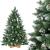 FairyTrees künstlicher Weihnachtsbaum Kiefer, Natur-Weiss beschneit, Material PVC, echte Tannenzapfen, inkl. Holzständer, 120cm, FT04-120 - 1