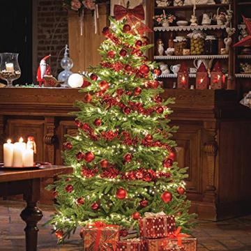 FAIRYTREES Weihnachtsbaum künstlich BAYERISCHE Tanne Premium, Material Mix aus Spritzguss & PVC, inkl. Holzständer, 220cm, FT23-220 - 3