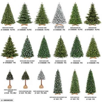 FAIRYTREES Weihnachtsbaum künstlich BAYERISCHE Tanne Premium, Material Mix aus Spritzguss & PVC, inkl. Holzständer, 220cm, FT23-220 - 7