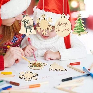 Fancylande DIY Hölzerne Christbaumschmuck, Handgemachte Holzhackschnitzelanhänger Und Weihnachtsthema, Um Eine Schöne Urlaubsatmosphäre Für Sie Zu Schaffen - 8