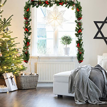 Faziango Weihnachtsgirlande 5m, Tannengirlande mit 100 LED warmweiß inkl. Deko, Künstliche Girlande Weihnachtsdeko für Weihnachten, Treppen, Kamine, Grün - 3