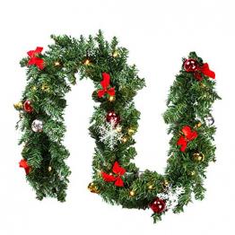 Faziango Weihnachtsgirlande 5m, Tannengirlande mit 100 LED warmweiß inkl. Deko, Künstliche Girlande Weihnachtsdeko für Weihnachten, Treppen, Kamine, Grün - 1