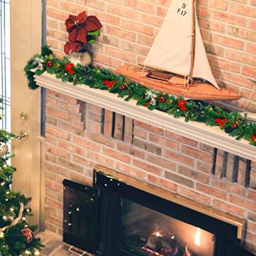 Faziango Weihnachtsgirlande 5m, Tannengirlande mit 100 LED warmweiß inkl. Deko, Künstliche Girlande Weihnachtsdeko für Weihnachten, Treppen, Kamine, Grün - 4