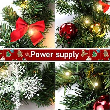 Faziango Weihnachtsgirlande 5m, Tannengirlande mit 100 LED warmweiß inkl. Deko, Künstliche Girlande Weihnachtsdeko für Weihnachten, Treppen, Kamine, Grün - 5