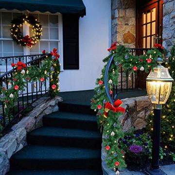 Faziango Weihnachtsgirlande 5m, Tannengirlande mit 100 LED warmweiß inkl. Deko, Künstliche Girlande Weihnachtsdeko für Weihnachten, Treppen, Kamine, Grün - 6