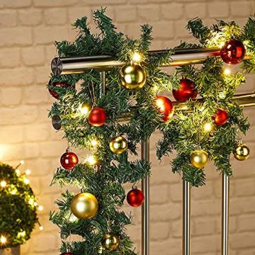 Faziango Weihnachtsgirlande 5m, Tannengirlande mit 100 LED warmweiß inkl. Deko, Künstliche Girlande Weihnachtsdeko für Weihnachten, Treppen, Kamine, Grün - 7