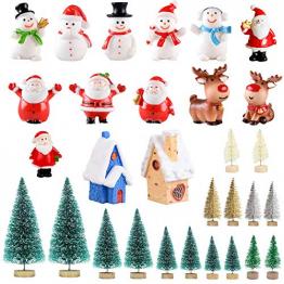 Feelava 30 Stück Weihnachten Miniatur Ornament Kits Mini Xmas Style Figuren Weihnachtsmann Weihnachtsbaum niedlichen Cartoon Xmas Decor für Home Garden Party Decor Desktop Dekoration - 1