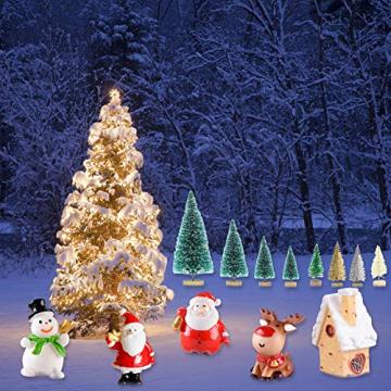 Feelava 30 Stück Weihnachten Miniatur Ornament Kits Mini Xmas Style Figuren Weihnachtsmann Weihnachtsbaum niedlichen Cartoon Xmas Decor für Home Garden Party Decor Desktop Dekoration - 5
